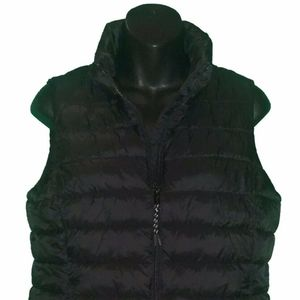 GAP Black Womens Puffer Zip Up Jacket Vest